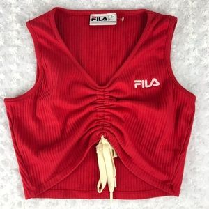 FILA Red Cinched Crop Top Size Large